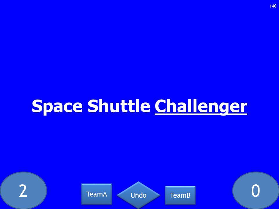 20 Space Shuttle Challenger 140 TeamA TeamB Undo