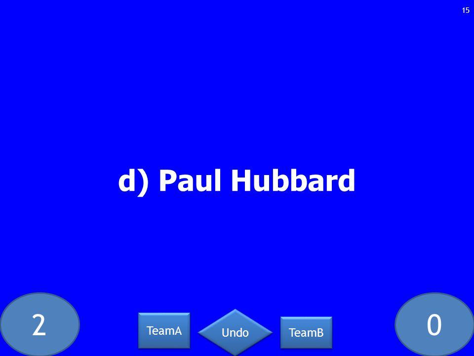 20 d) Paul Hubbard 15 TeamA TeamB Undo