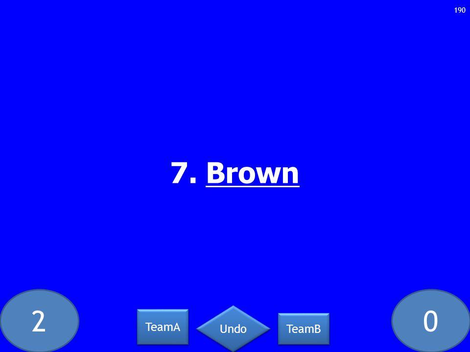 20 7. Brown 190 TeamA TeamB Undo
