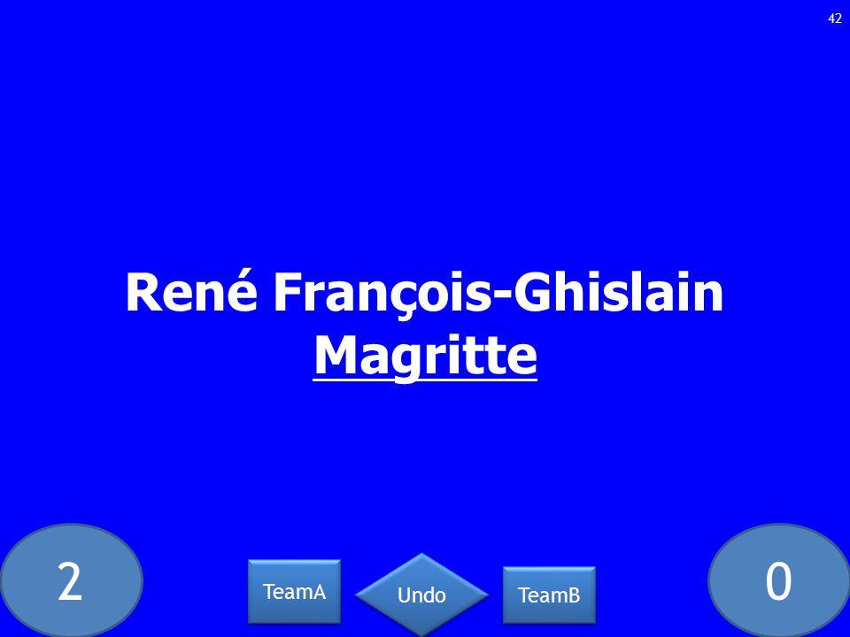 20 René François-Ghislain Magritte 42 TeamA TeamB Undo