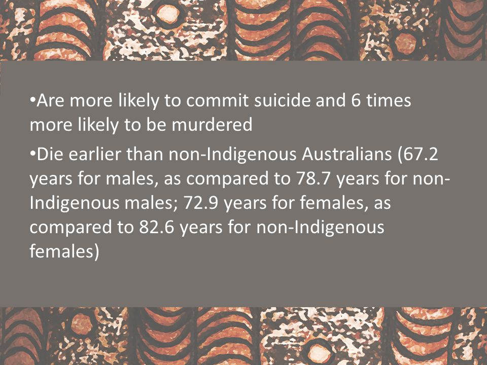 Will need aged care services between 11 and 17 years earlier than will non-Indigenous citizens Are between 1.8 and 2.4 more times likely to suffer a disability http://bit.ly/IndigenousPoverty