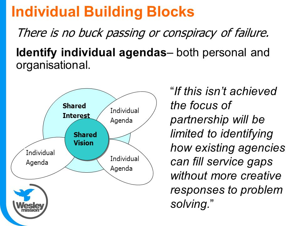Individual Building Blocks Shared Vision Shared Interest Individual Agenda Individual Agenda Individual Agenda There is no buck passing or conspiracy of failure.