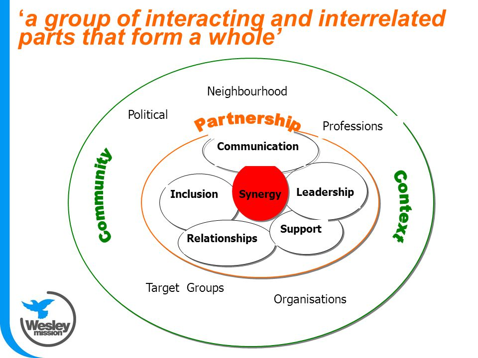 'a group of interacting and interrelated parts that form a whole' Relationships SynergyInclusion Leadership Support Neighbourhood Professions Political Organisations Target Groups Communication