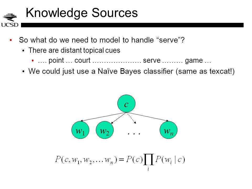 Knowledge Sources So what do we need to model to handle serve .