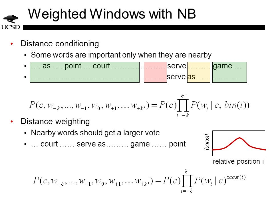 Weighted Windows with NB Distance conditioning Some words are important only when they are nearby ….