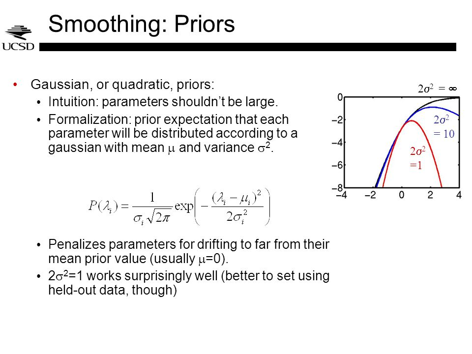 Smoothing: Priors Gaussian, or quadratic, priors: Intuition: parameters shouldn't be large.