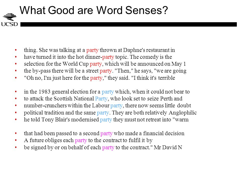 What Good are Word Senses. thing.