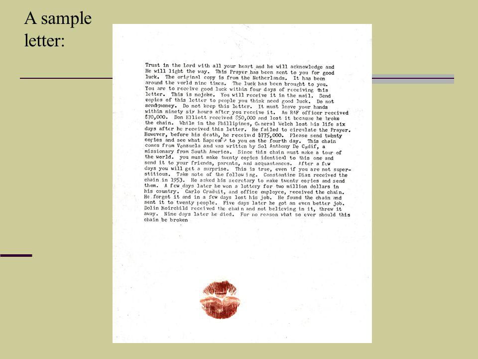A sample letter: