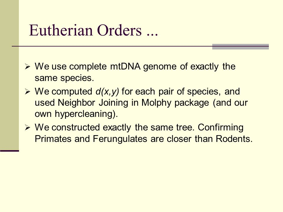 Eutherian Orders...  We use complete mtDNA genome of exactly the same species.