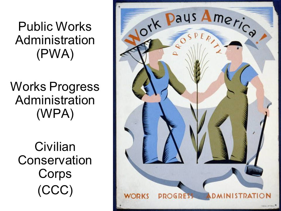 Public Works Administration (PWA) Works Progress Administration (WPA) Civilian Conservation Corps (CCC)