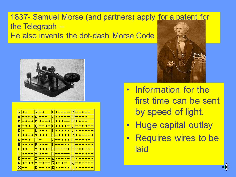 1837- Samuel Morse (and partners) apply for a patent for the Telegraph – He also invents the dot-dash Morse Code Information for the first time can be sent by speed of light.