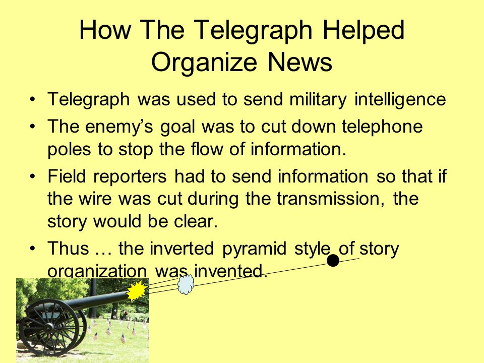 How The Telegraph Helped Organize News Telegraph was used to send military intelligence The enemy's goal was to cut down telephone poles to stop the flow of information.