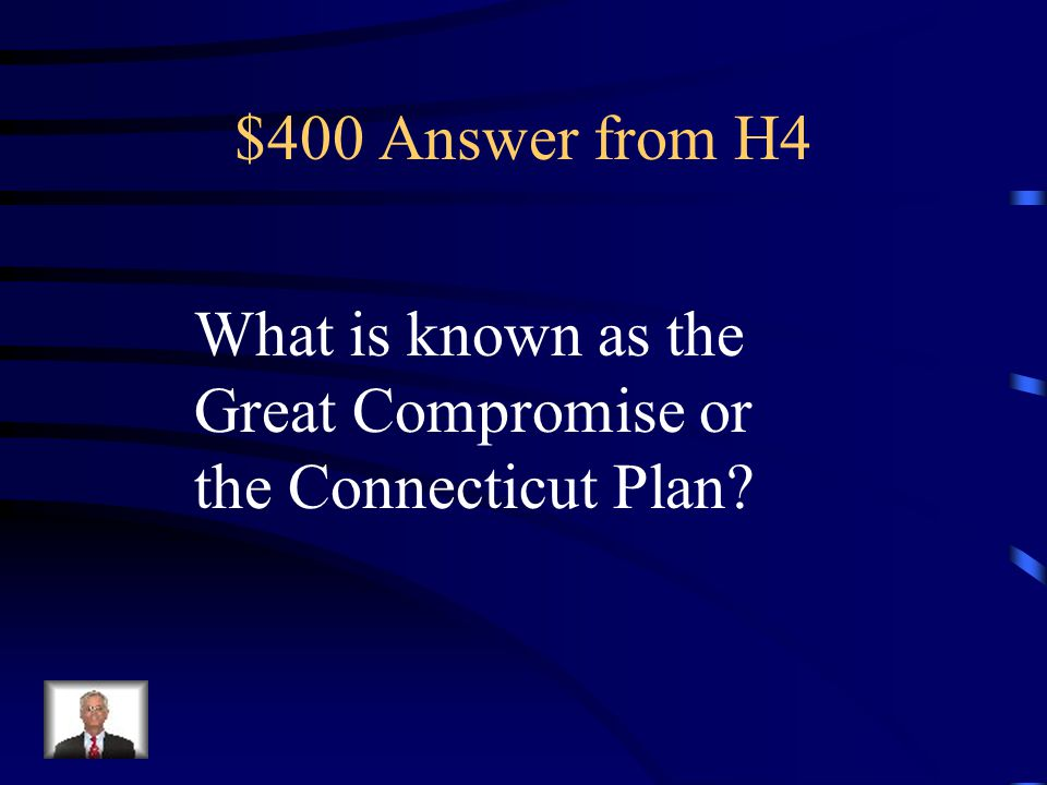 $400 Question from H4 This plan called for a bicameral congress with representation in a lower house, the House of Representatives, and an upper house, the Senate.