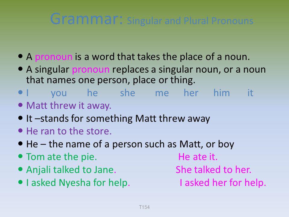 Grammar: Singular and Plural Pronouns A pronoun is a word that takes the place of a noun.