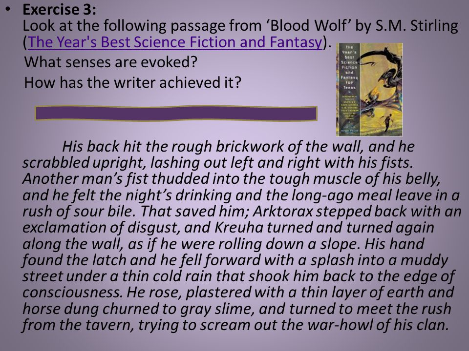 Exercise 3: Look at the following passage from 'Blood Wolf' by S.M.