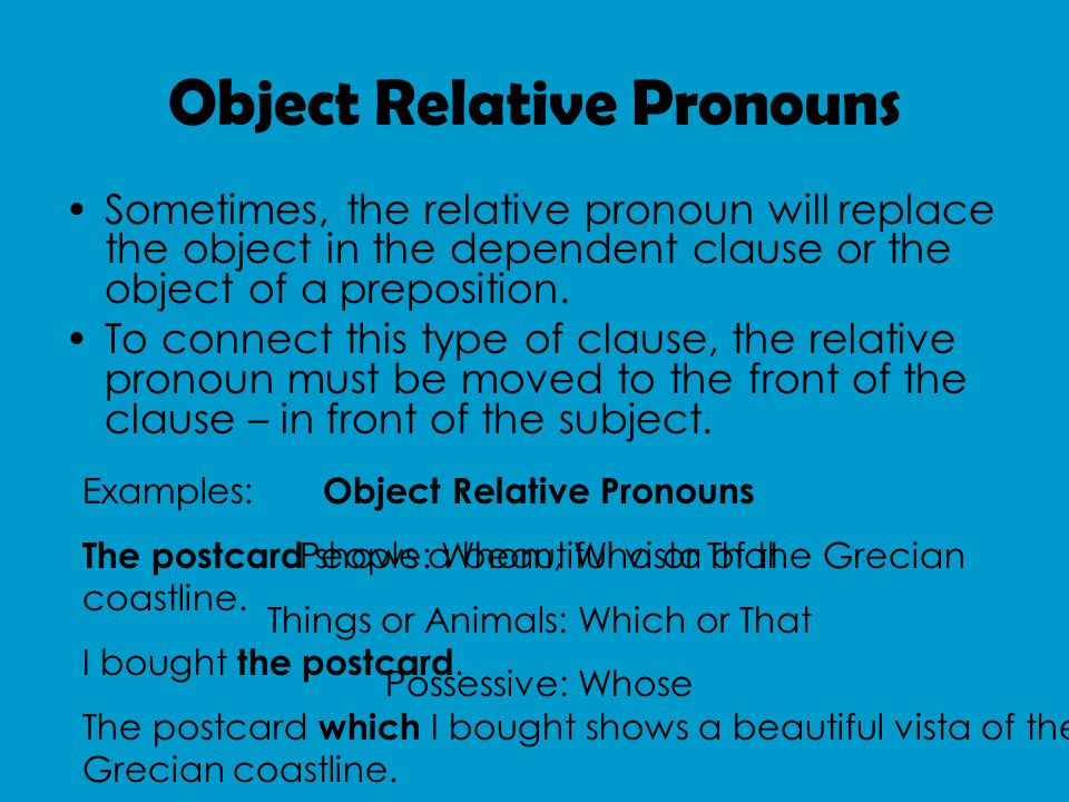 Things to Remember The relative pronoun replaces the noun – don't use it and the noun in the dependent clause.
