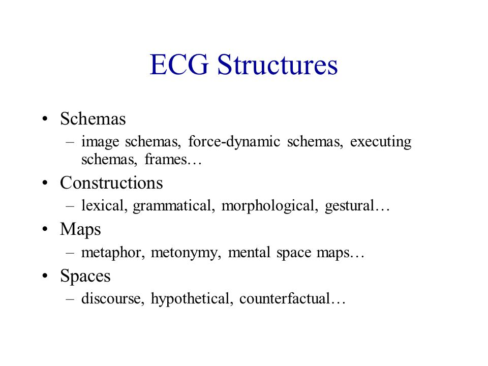 ECG Structures Schemas –image schemas, force-dynamic schemas, executing schemas, frames… Constructions –lexical, grammatical, morphological, gestural… Maps –metaphor, metonymy, mental space maps… Spaces –discourse, hypothetical, counterfactual…