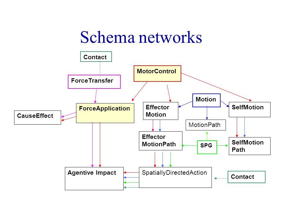 Schema networks MotorControl Motion SPG Effector Motion Effector MotionPath ForceTransfer ForceApplication Contact SpatiallyDirectedAction CauseEffect Contact Agentive Impact SelfMotion Path MotionPath