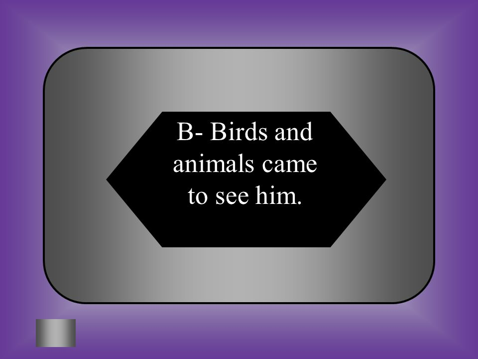 A:B: The sun did not shine that day. Birds and animals came to see him. #9- $16,000 What happened when John Henry was born? C:D: His parents threw him