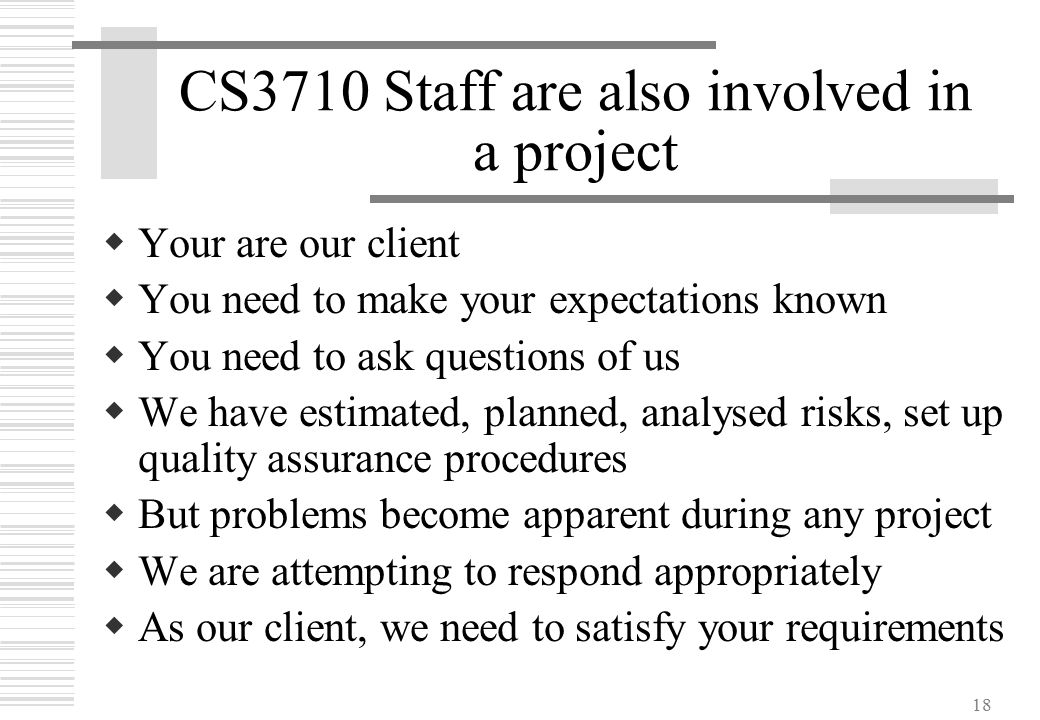 18 CS3710 Staff are also involved in a project  Your are our client  You need to make your expectations known  You need to ask questions of us  We