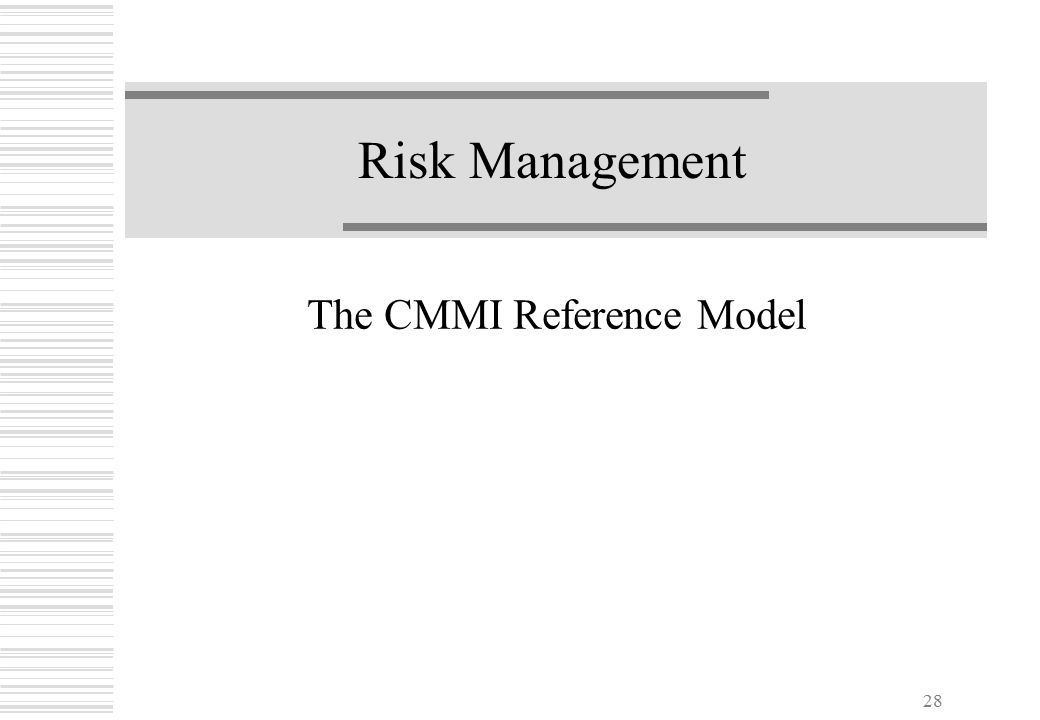 28 Risk Management The CMMI Reference Model