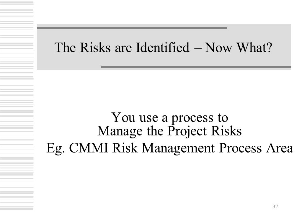 37 The Risks are Identified – Now What? You use a process to Manage the Project Risks Eg. CMMI Risk Management Process Area