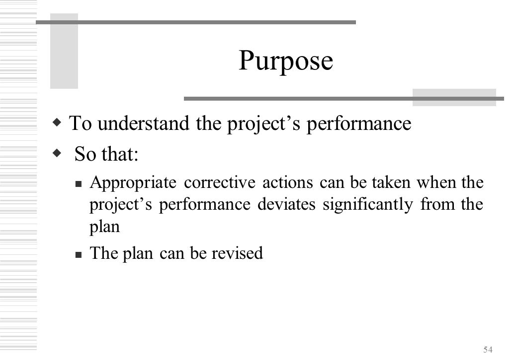 54 Purpose  To understand the project's performance  So that: Appropriate corrective actions can be taken when the project's performance deviates si