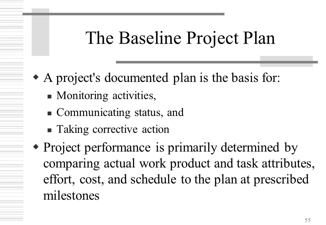 55 The Baseline Project Plan  A project's documented plan is the basis for: Monitoring activities, Communicating status, and Taking corrective action