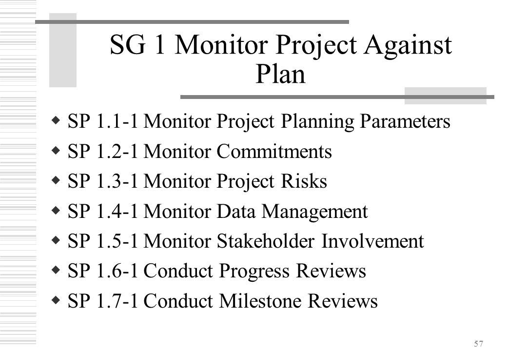 57 SG 1 Monitor Project Against Plan  SP 1.1-1Monitor Project Planning Parameters  SP 1.2-1Monitor Commitments  SP 1.3-1Monitor Project Risks  SP