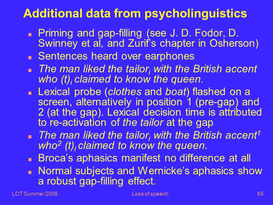 LOT Summer 2006Loss of speech65 Additional data from psycholinguistics n Priming and gap-filling (see J.