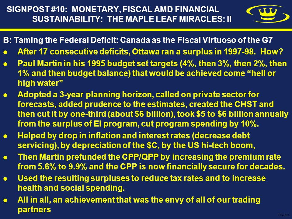 SIGNPOST #10: MONETARY, FISCAL AMD FINANCIAL SUSTAINABILITY: THE MAPLE LEAF MIRACLES: II B: Taming the Federal Deficit: Canada as the Fiscal Virtuoso of the G7 After 17 consecutive deficits, Ottawa ran a surplus in 1997-98.