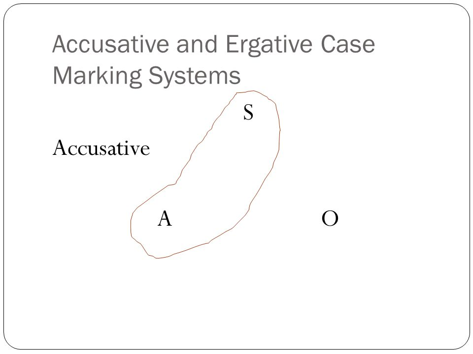 Accusative and Ergative Case Marking Systems S Accusative A O