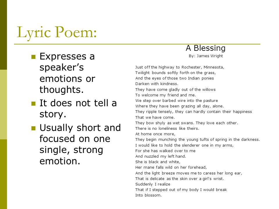 Lyric Poem: Expresses a speaker's emotions or thoughts. It does not tell a story. Usually short and focused on one single, strong emotion. A Blessing