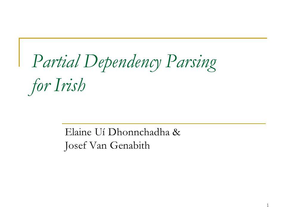 12 Previous NLP Work Tokenization & Morphological Analysis  Finite-State Morphology: (Karttunen, Beesley, 1999; 2003)  Finite-State Morphological Analyser & Generator for Irish: (Uí Dhonnchadha, 2002) POS Tagging and Parsing  Constraint Grammar (CG): Karlsson et al (1995),  Constraint Grammar Parser CG-2 (Tapanainen, 1996),  VISL CG3 (Bick et al, 2003...) http://visl.sdu.dkhttp://visl.sdu.dk Chunking:  Partial Parsing via Finite-State Cascades (Abney, 1996)