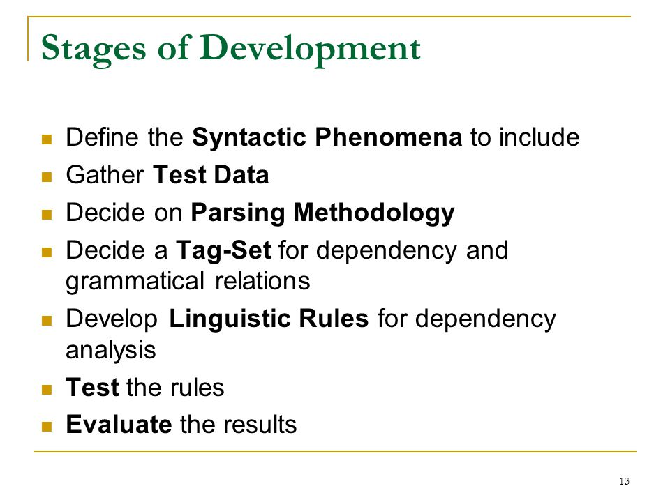 13 Stages of Development Define the Syntactic Phenomena to include Gather Test Data Decide on Parsing Methodology Decide a Tag-Set for dependency and grammatical relations Develop Linguistic Rules for dependency analysis Test the rules Evaluate the results