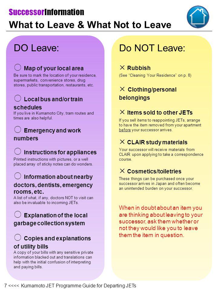 Appendix II Change of Address Notice 68 <<<< Kumamoto JET Programme Guide for Departing JETs