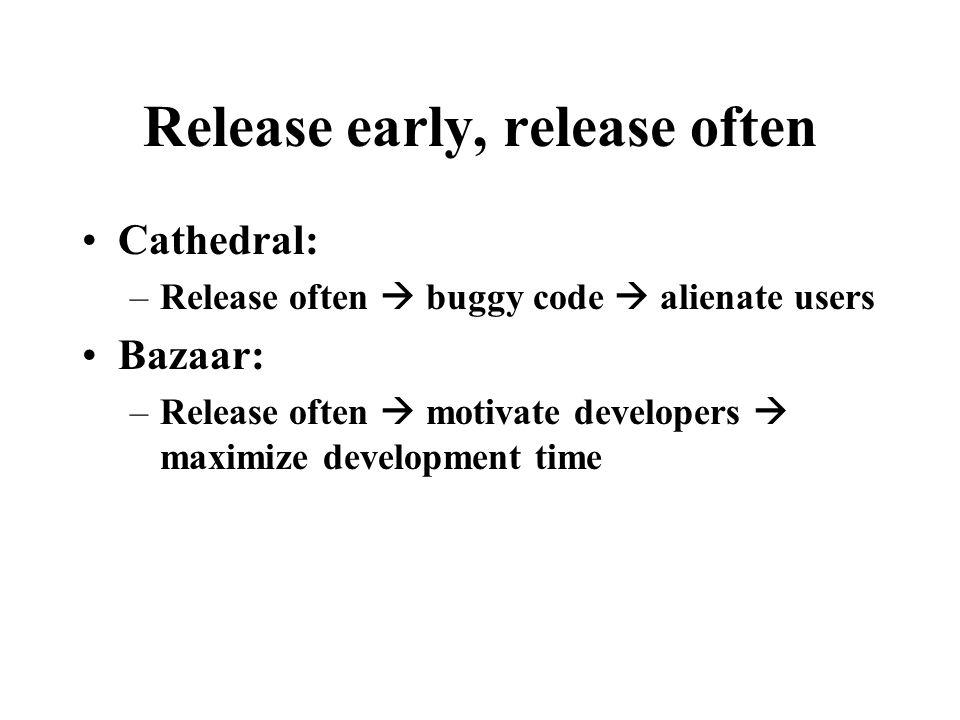Release early, release often Cathedral: –Release often  buggy code  alienate users Bazaar: –Release often  motivate developers  maximize development time