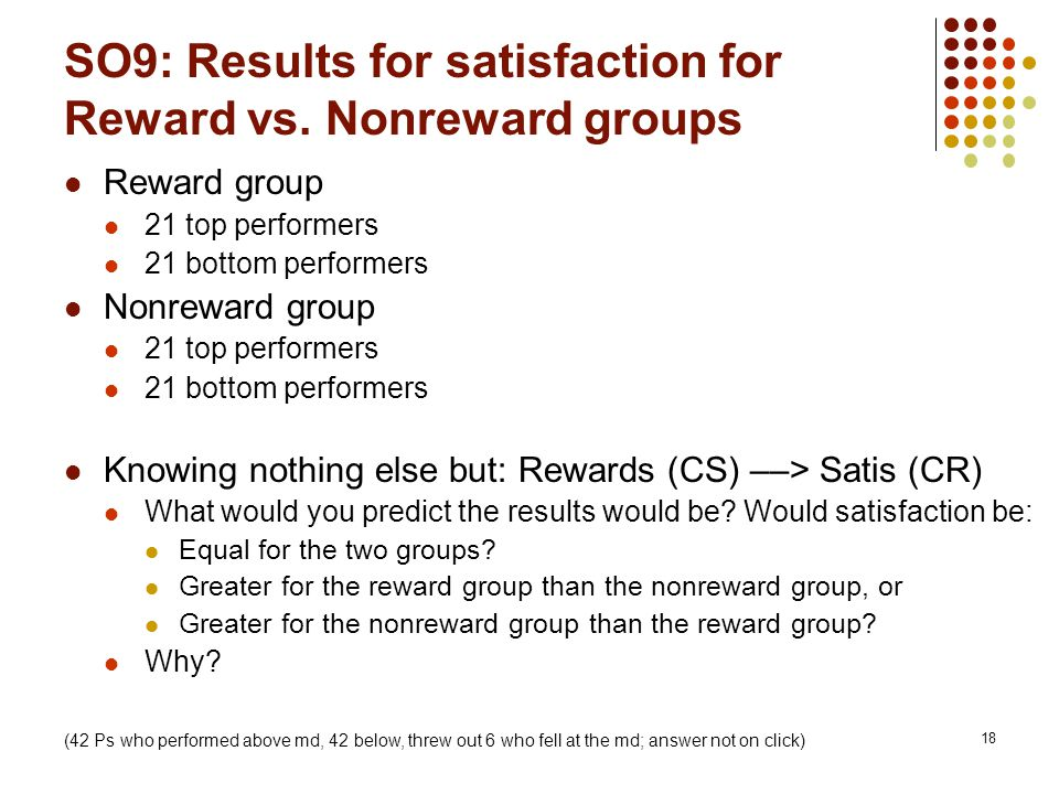 18 SO9: Results for satisfaction for Reward vs.