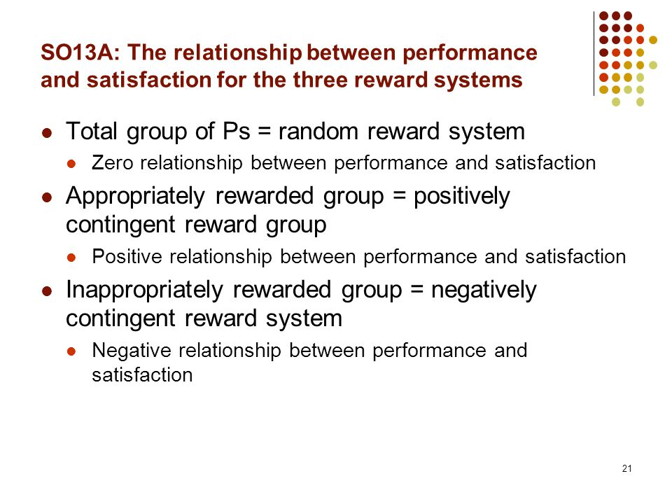 21 SO13A: The relationship between performance and satisfaction for the three reward systems Total group of Ps = random reward system Zero relationship between performance and satisfaction Appropriately rewarded group = positively contingent reward group Positive relationship between performance and satisfaction Inappropriately rewarded group = negatively contingent reward system Negative relationship between performance and satisfaction