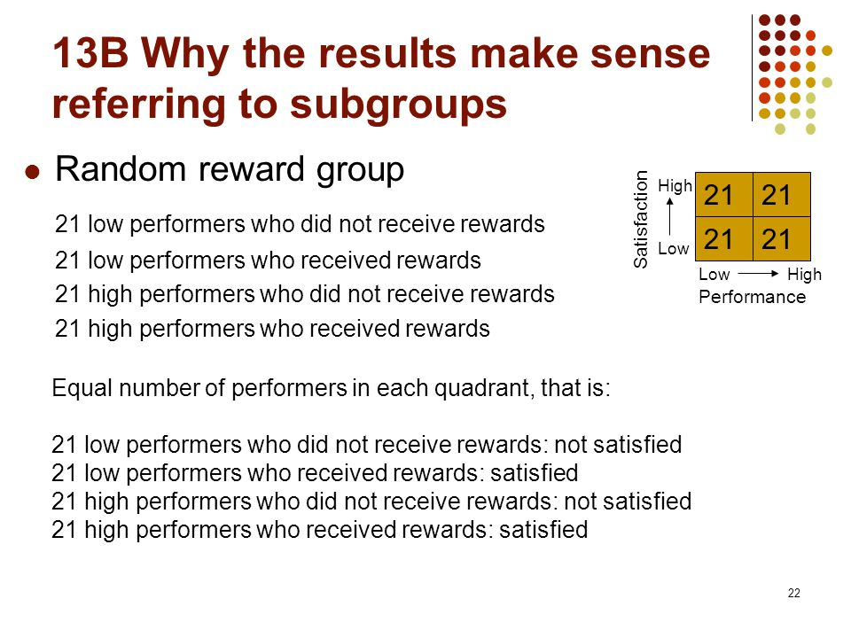 13B Why the results make sense referring to subgroups 22 Random reward group 21 low performers who did not receive rewards 21 low performers who recei