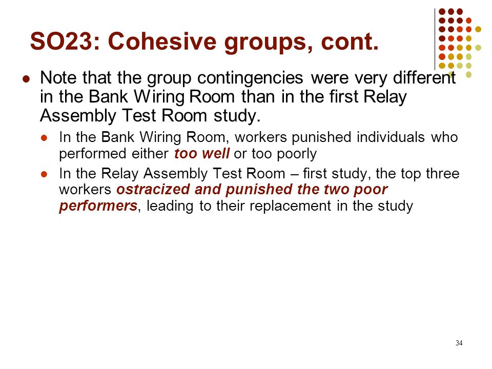 34 SO23: Cohesive groups, cont.