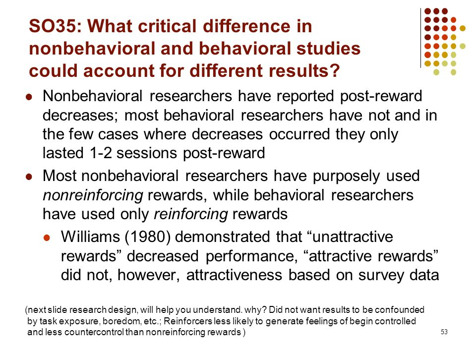 SO35: What critical difference in nonbehavioral and behavioral studies could account for different results? Nonbehavioral researchers have reported po