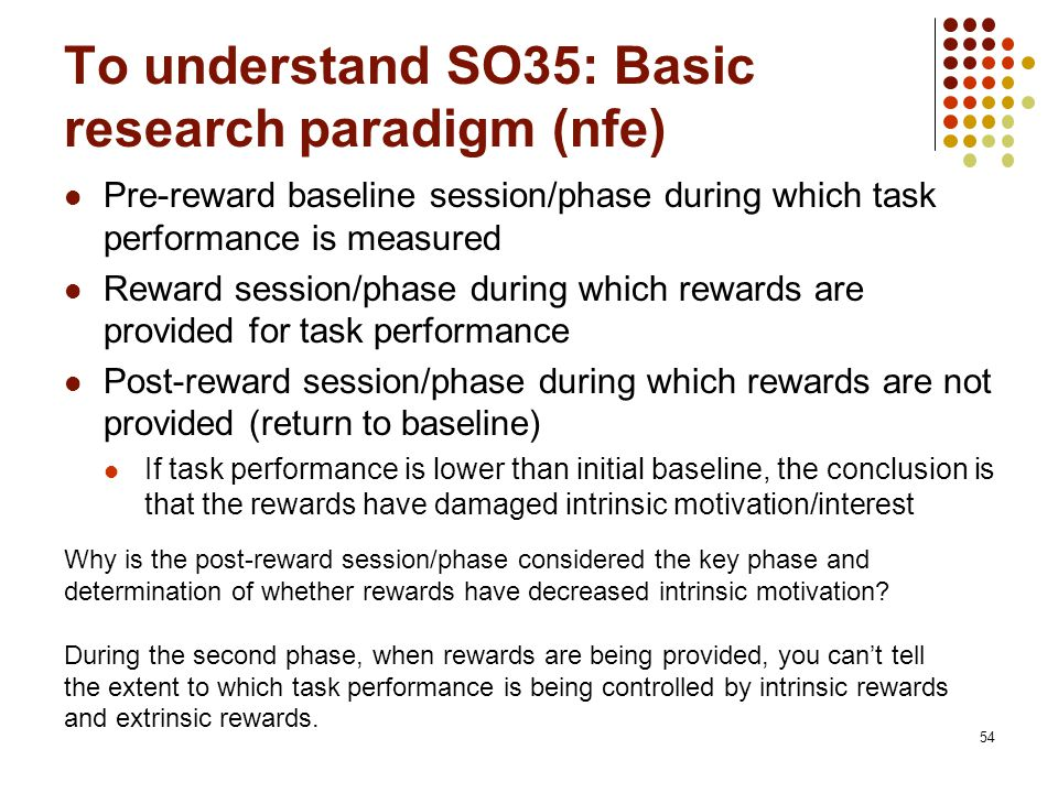 To understand SO35: Basic research paradigm (nfe) Pre-reward baseline session/phase during which task performance is measured Reward session/phase during which rewards are provided for task performance Post-reward session/phase during which rewards are not provided (return to baseline) If task performance is lower than initial baseline, the conclusion is that the rewards have damaged intrinsic motivation/interest 54 Why is the post-reward session/phase considered the key phase and determination of whether rewards have decreased intrinsic motivation.