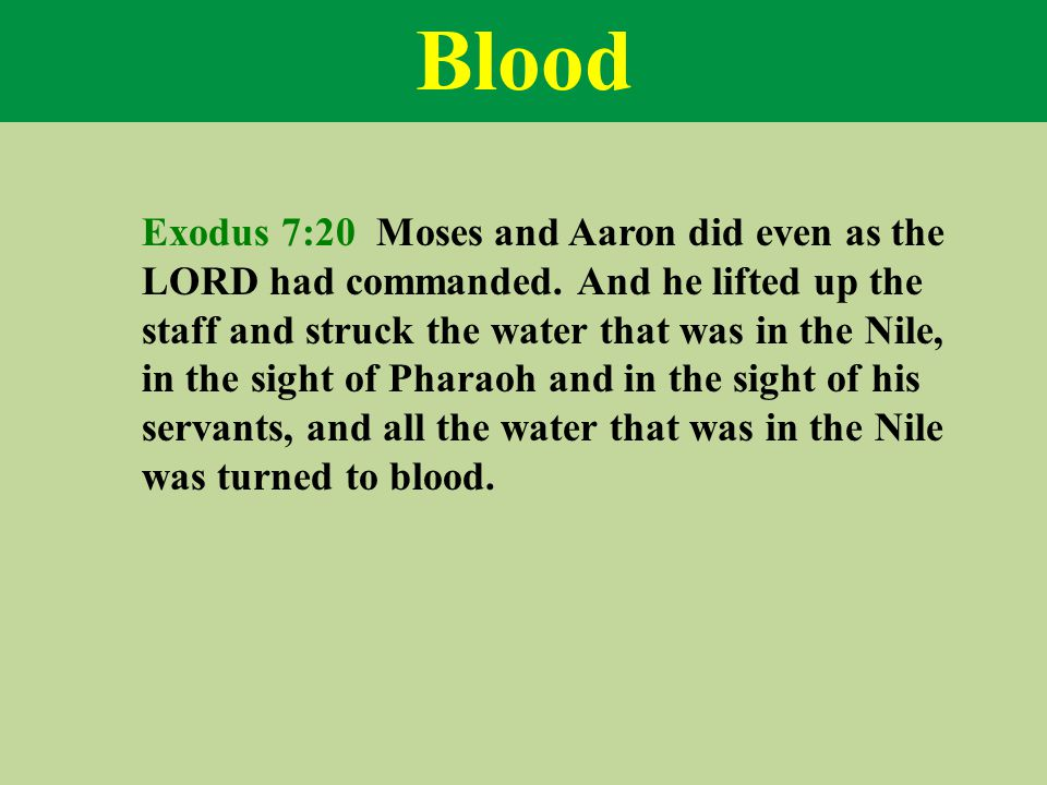 Blood Exodus 7:20 Moses and Aaron did even as the LORD had commanded.