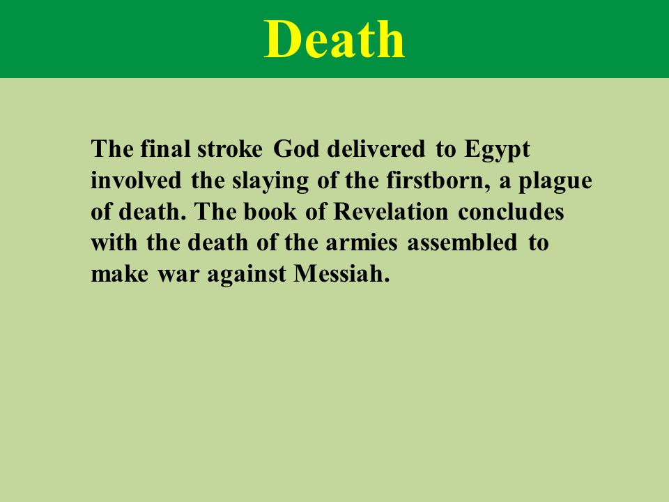 Death The final stroke God delivered to Egypt involved the slaying of the firstborn, a plague of death.