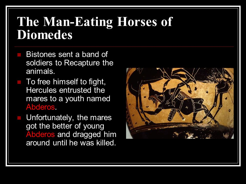 The Man-Eating Horses of Diomedes Bistones sent a band of soldiers to Recapture the animals.