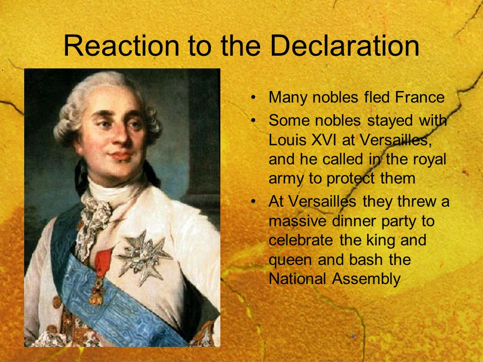 Reaction to the Declaration Many nobles fled France Some nobles stayed with Louis XVI at Versailles, and he called in the royal army to protect them At Versailles they threw a massive dinner party to celebrate the king and queen and bash the National Assembly