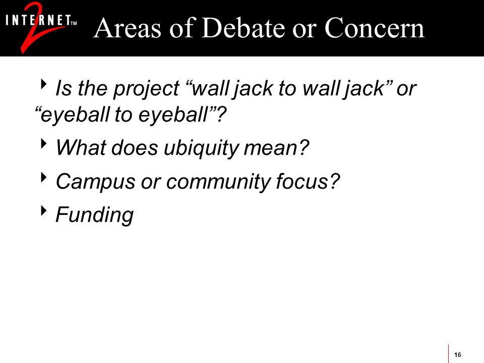 16 Areas of Debate or Concern  Is the project wall jack to wall jack or eyeball to eyeball .