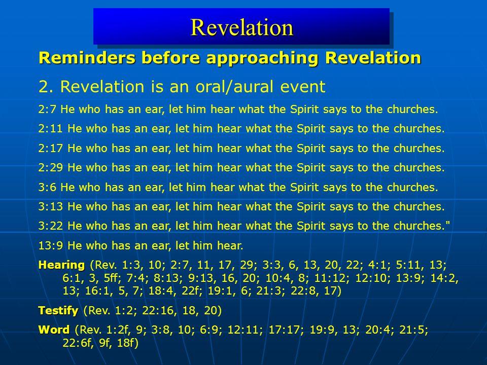 RevelationRevelation Reminders before approaching Revelation 2.