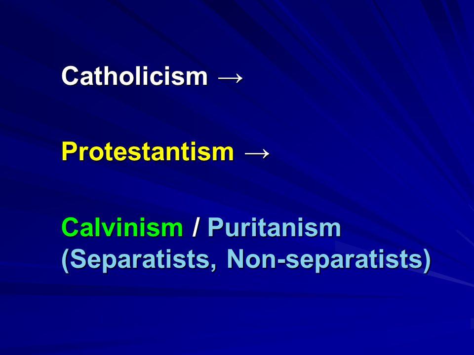 Catholicism → Protestantism → Calvinism / Puritanism (Separatists, Non-separatists)